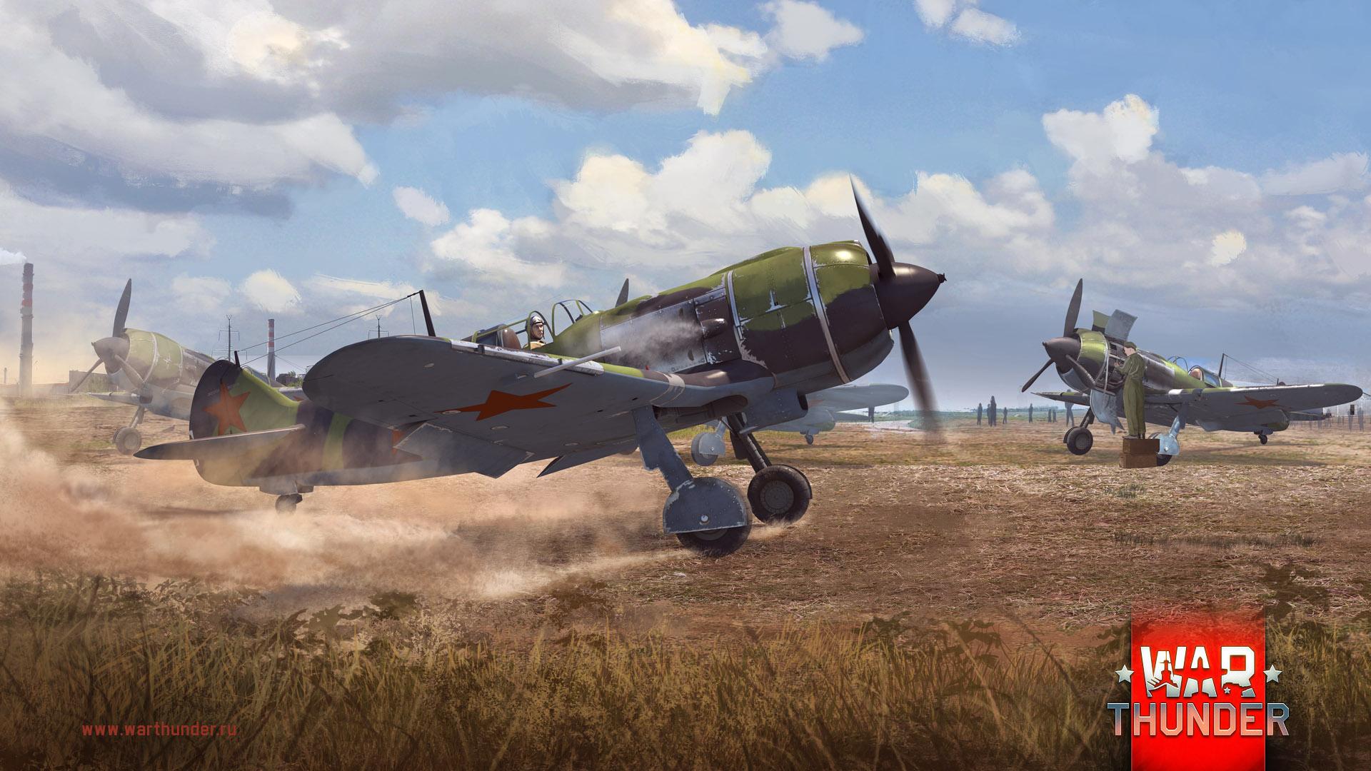 Рисунок Ла-5 на аэродроме на рабочий стол | Игровые War Wallpapers