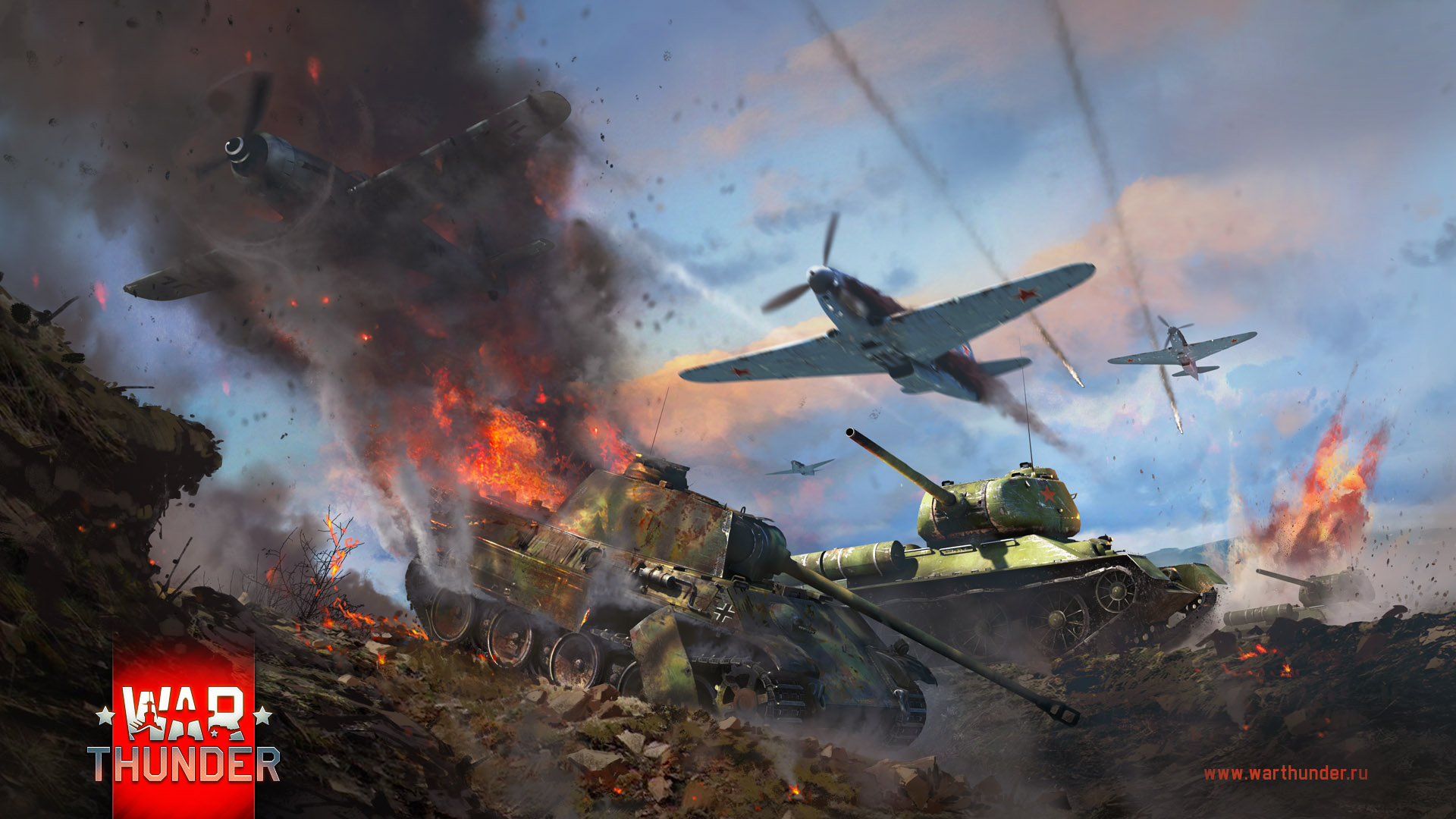 рисунок Т-34 при поддержке аваиции